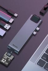BASEUS Thunderbolt C+ Pro Seven-in-one Smart HUB Docking Station Dual Type-C Port to HDMI/SD/TF/USB 3.0x2/RJ45 Internet/PD Port Adapter - Dark Grey