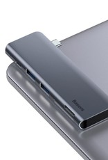 Baseus BASEUS Harmonica USB Type-C Hub 5-in-1 Type-C Adapter Hub with 2 USB 3.0 Ports, SD and TF Card Slot and PD Charging Port - Grey