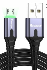 ESSAGER Micro USB to USB Nylon Braided Data Charging Cord w/ LED Indicator 2m - Grey