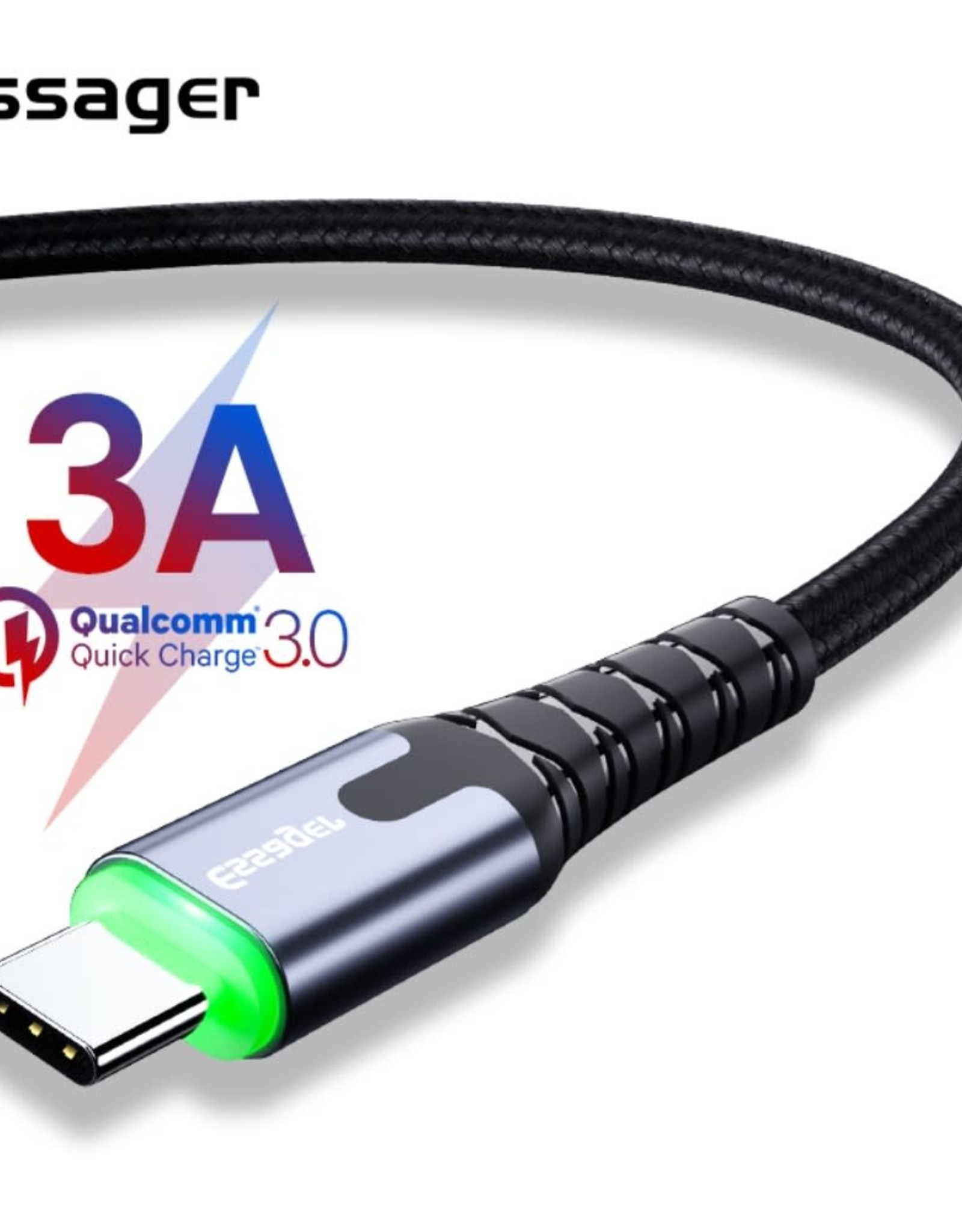 ESSAGER Type-C 3A Fast Charging Data Cable w/ LED Indicator Nylon Braided Cord 2m - Dark Grey