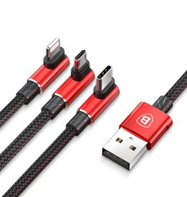 Baseus BASEUS MVP Elbow 3.5A 1.2m Lightning 8pin + Type C + Micro USB 3-in-1 Data Charge Cable - Red