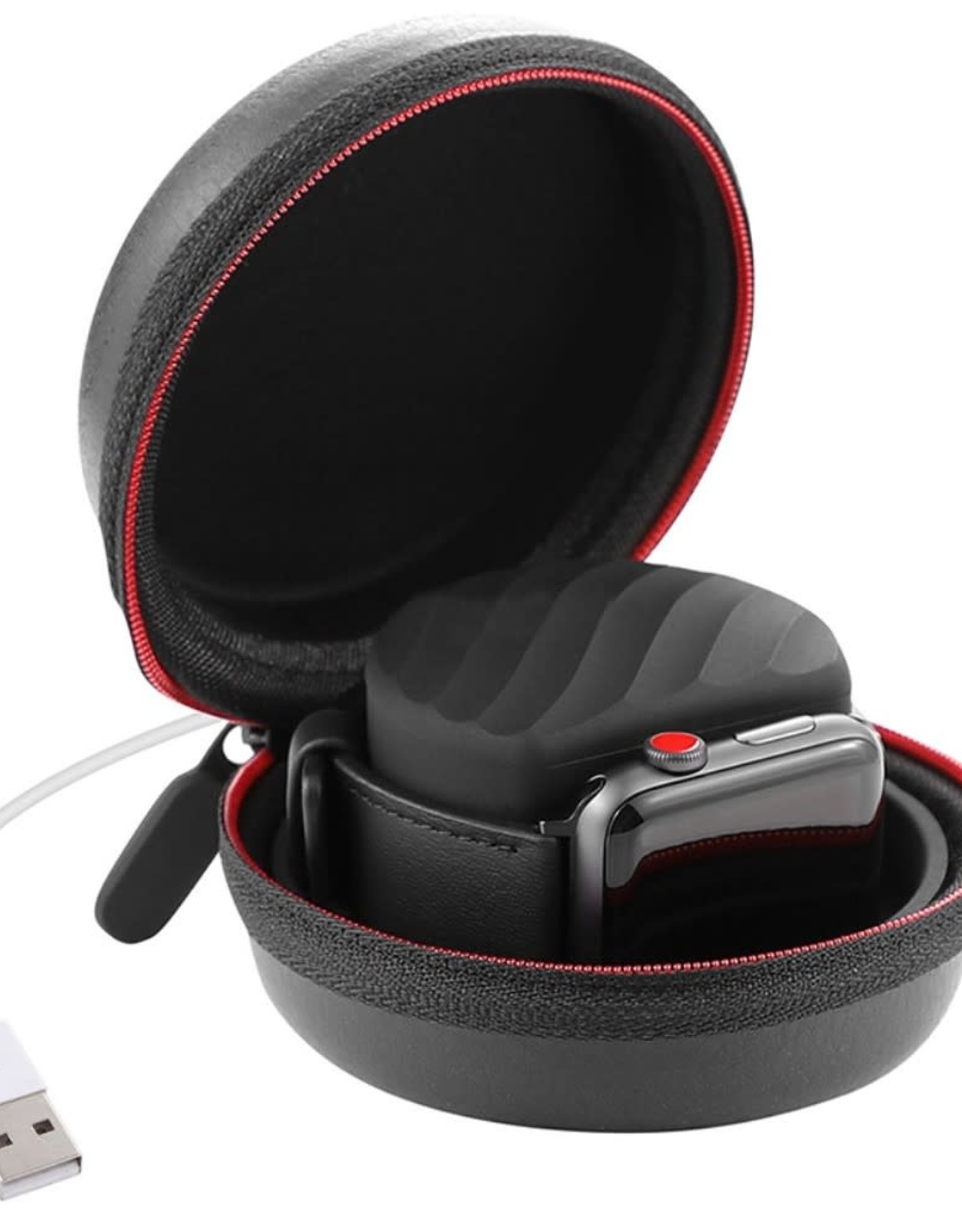 EVA Storage Bag Carry Case for Apple Watch Series 4/3/2/1 44mm/42mm/40mm/38mm with Charge Holder Dock and Carabiner