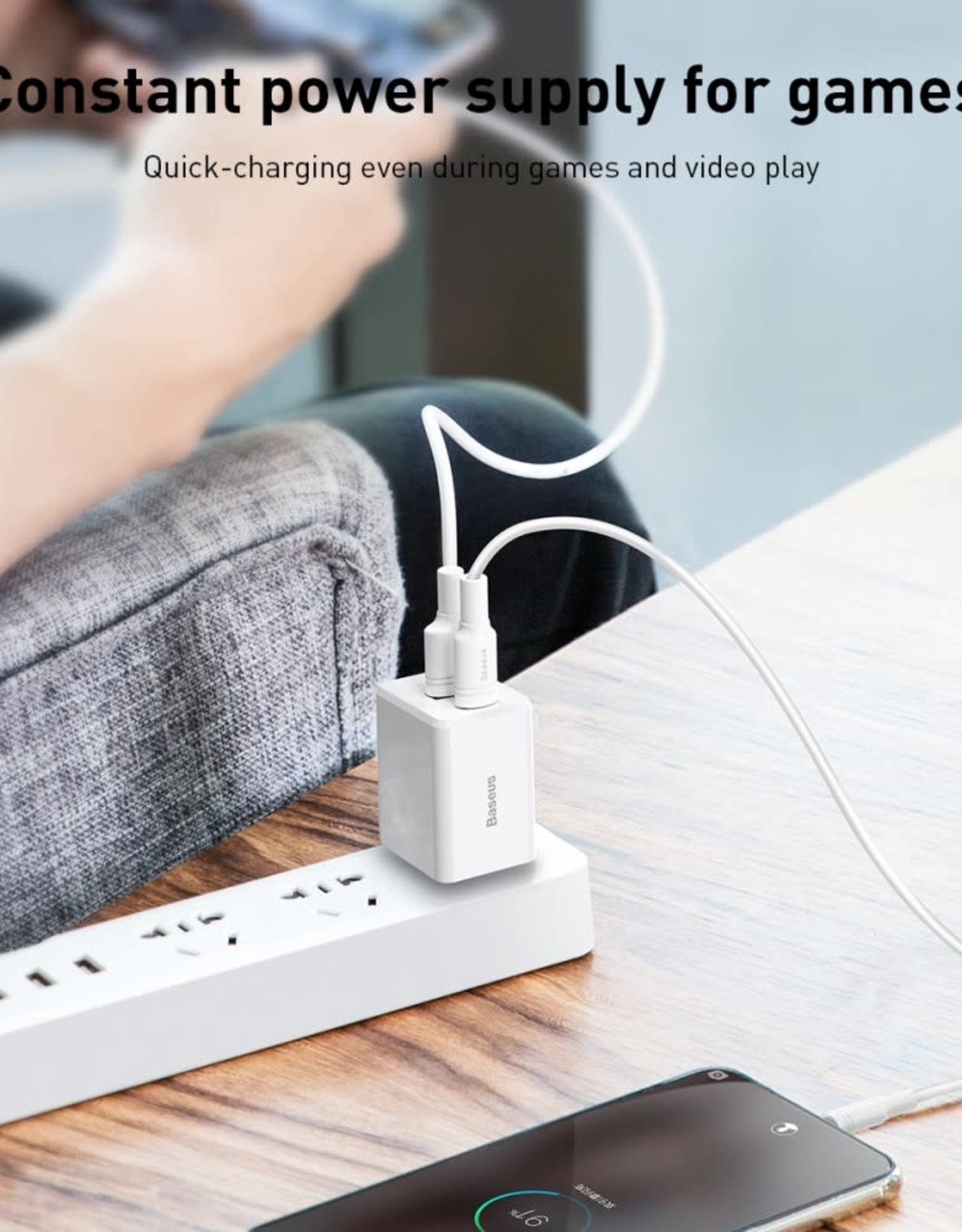 Baseus Travel BASEUS 18W Fast Charging Type C + USB Power Charger Dual White