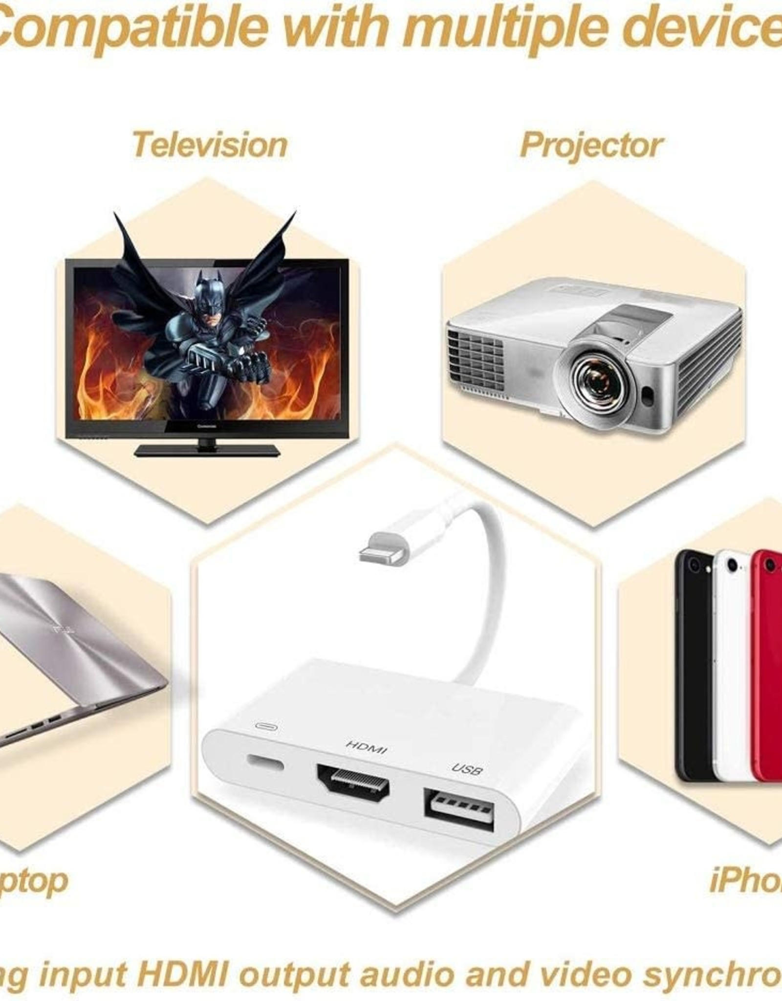 3 In 1 Lightning to OTG Digital AV Adapter HDMI / Lightning / OTG Digital AV Adapter