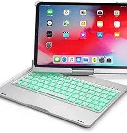 Backlight 360 degree rotary bluetooth wireless keyboard case, detechable iPad 11  2020  Silver