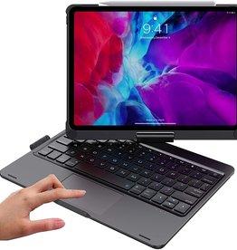 Backlight 360 degree rotary bluetooth wireless keyboard case, detechable iPad 11 2020 Black