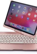 Backlight 360 degree rotary bluetooth wireless keyboard case, detechable iPad 11 2020 Gold