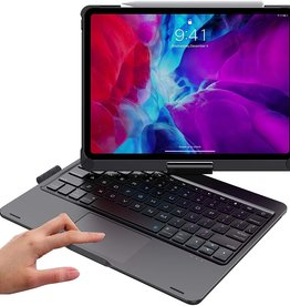Backlight 360 degree rotary bluetooth wireless keyboard case, detechable iPad 12.9 2020 Black