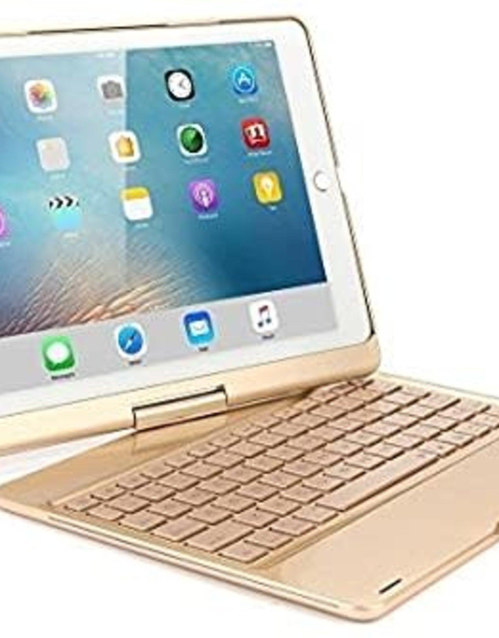 Backlight 360 degree rotary bluetooth wireless keyboard case, detechable iPad 12.9 2020 Gold
