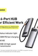 Baseus Baseus Metal Gleam Series 6in1 Multifunctional Type-C HUB Docking Station Gray