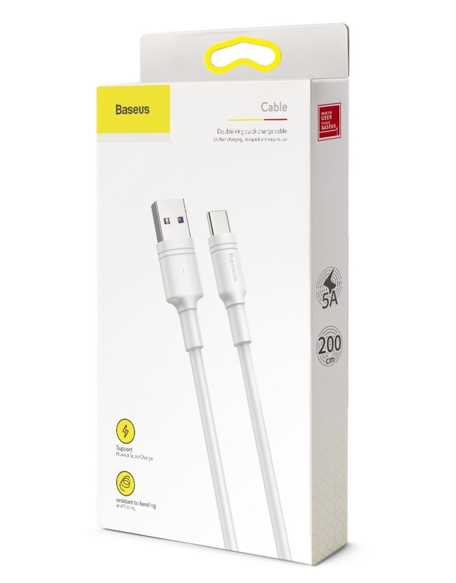 Baseus Baseus Double-ring Huawei Quick Charge Cable USB For Type-C 5A 1m White