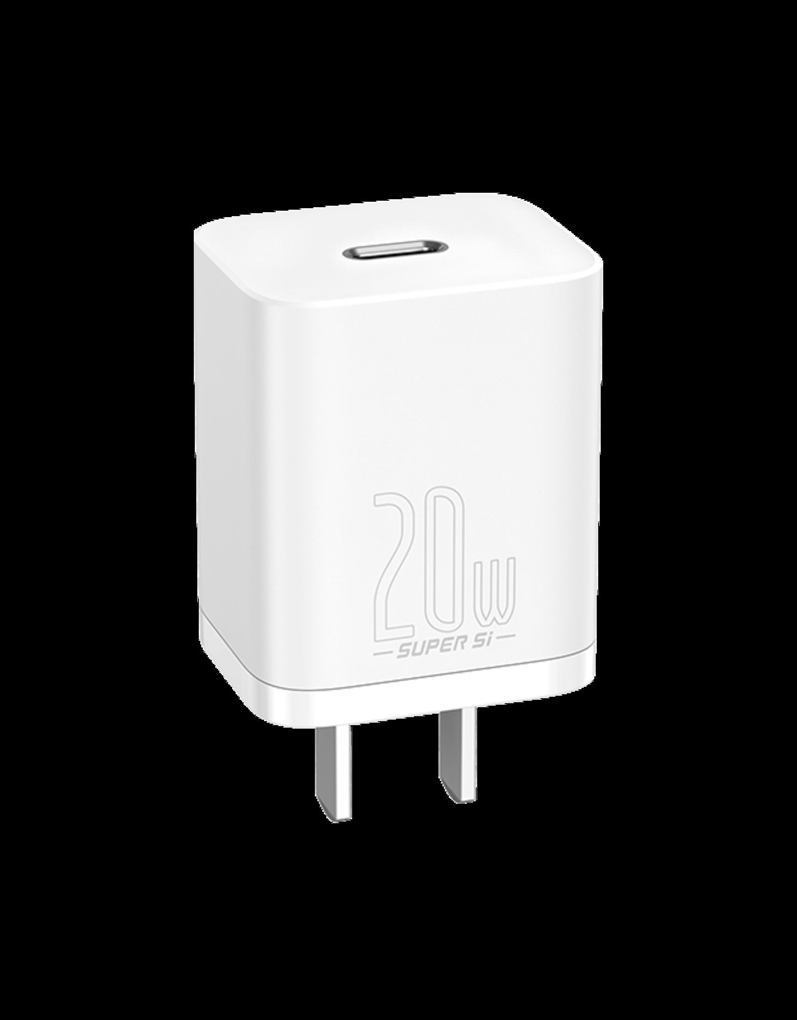 Baseus Baseus Super Si Quick Charger 1C 20W CN Sets   Simple Wisdom Data Cable Type-C to iP 1m