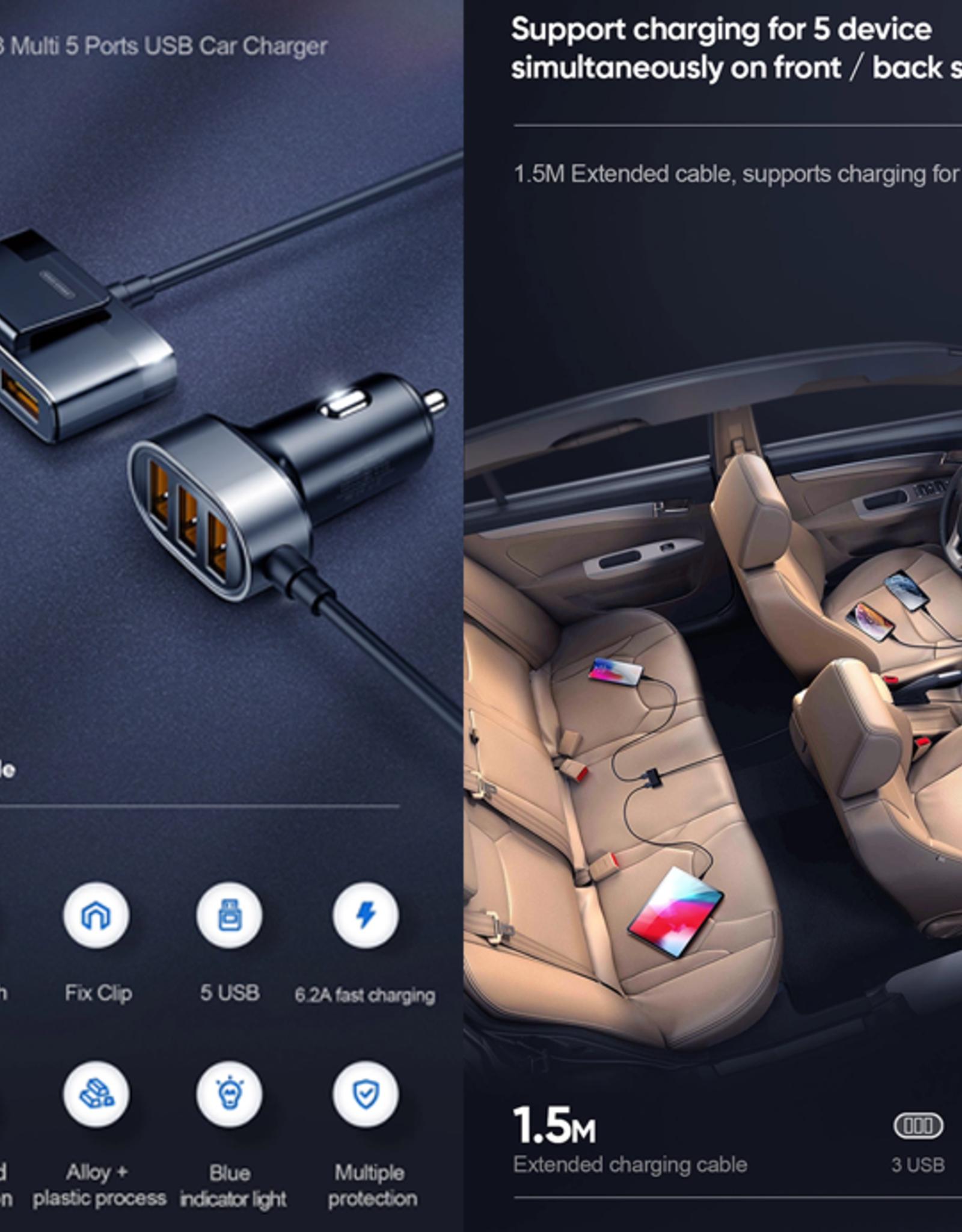 Joyroom Joyroom  JR-CL03 Multi 5 Ports ( 3 + 2 ) USB Car Charger