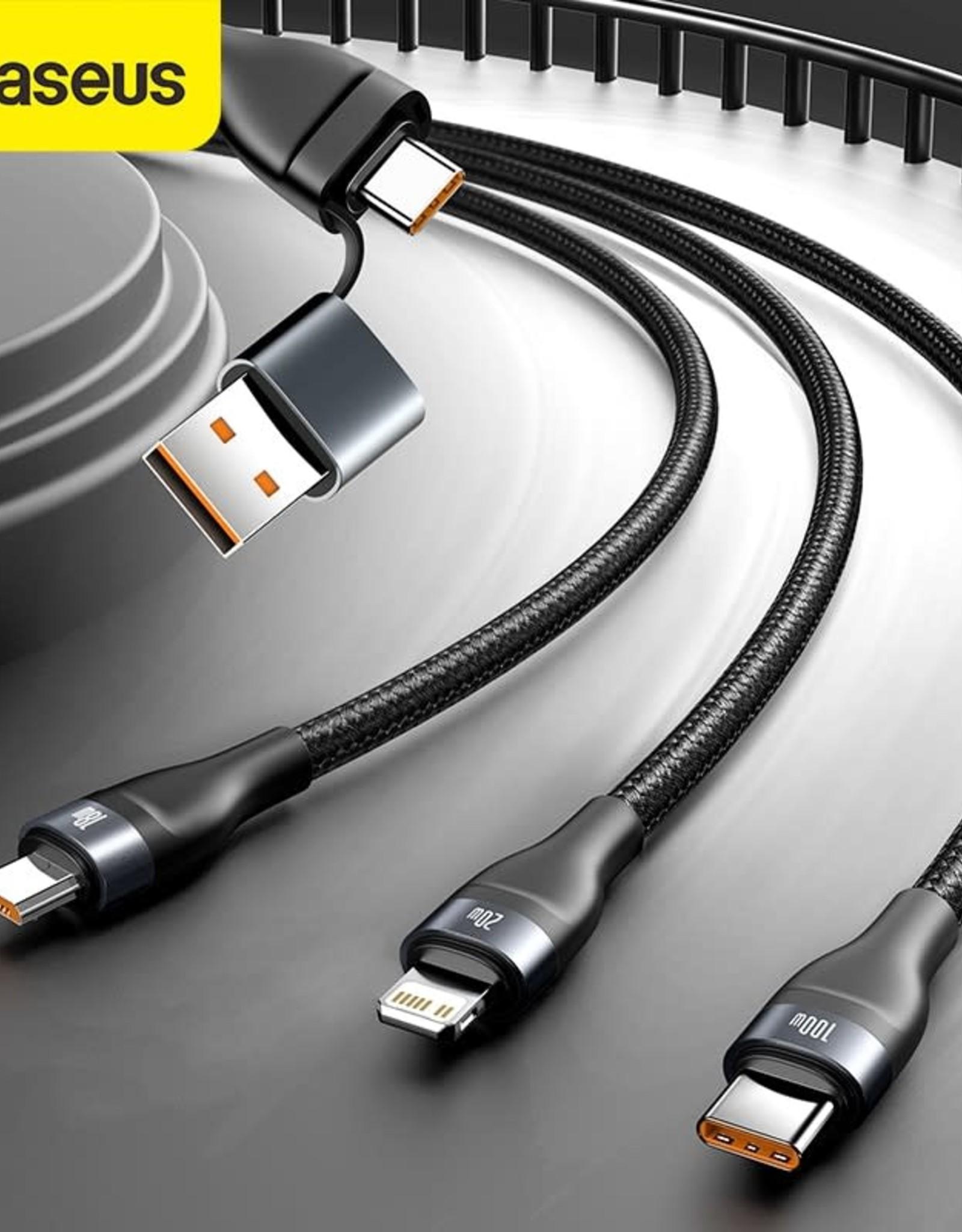 Baseus Baseus Flash Series Two-for-three Data Cable U+C to M+L+C 100W 1.2m Gray+Black