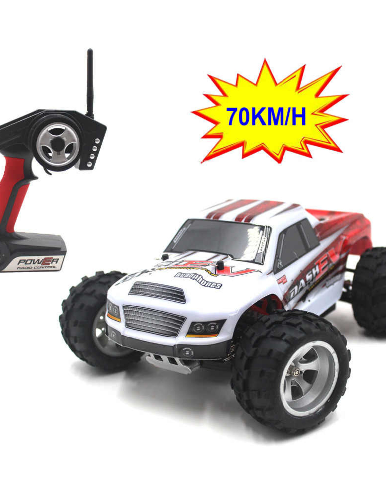 WL TOYS WL toys A979-B 2.4G 1:18 70KM/H High Speed Monster Truck Rc Car Red/White