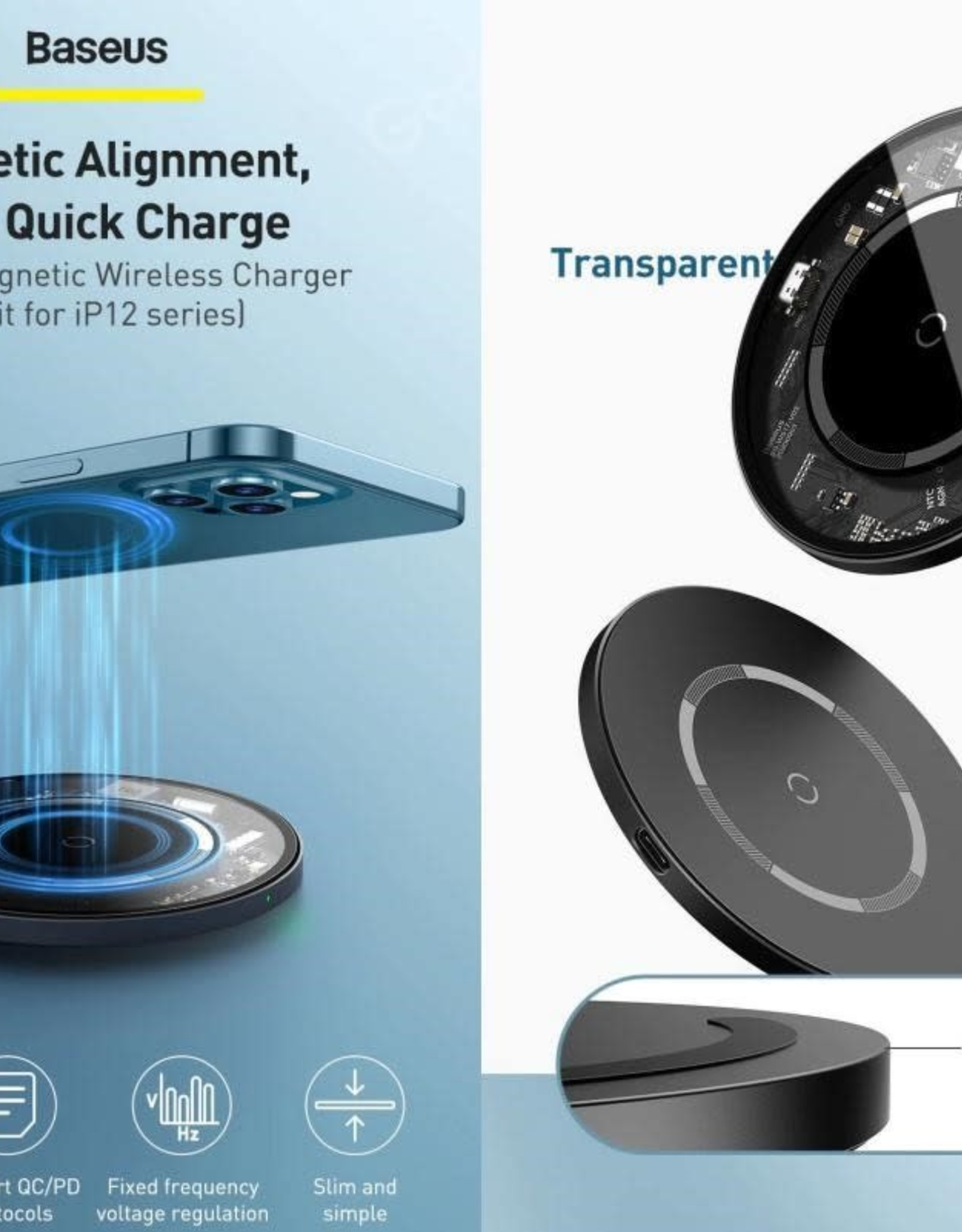 Baseus Baseus Simple Magnetic Wireless Charger (For iP12)