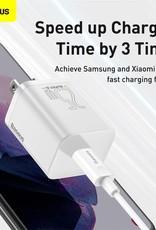 Baseus Baseus Super Si Quick Charger 1C 25W US Sets Black With Mini White Cable Type-C to Type-C 3A 1m