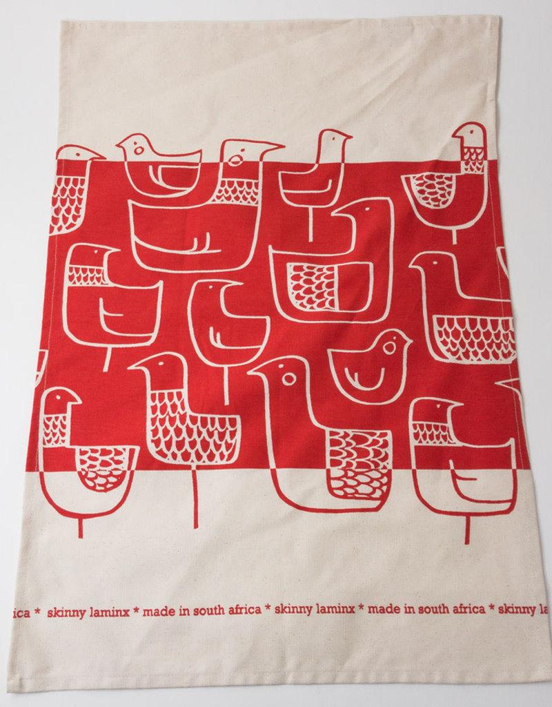 RED BIRDS COTTON LINEN TEA TOWEL
