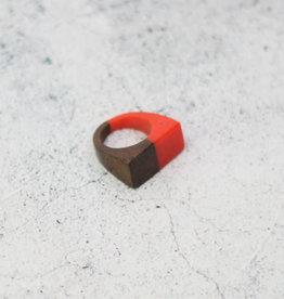 WOOD RING ORANGE BROWN SIZE 6 1/2