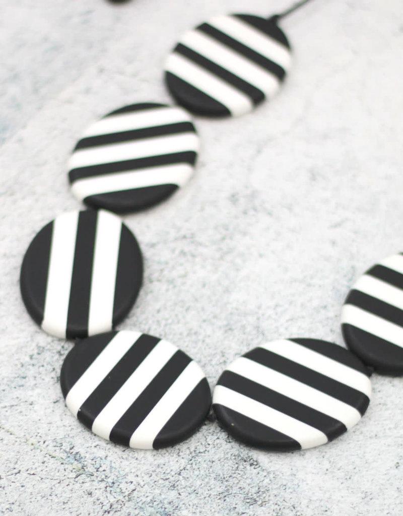 BLACK AND WHITE STRIPED STELLA NECKLACE