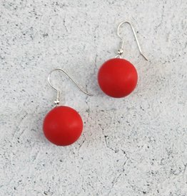 RED RESIN BALL EARRINGS