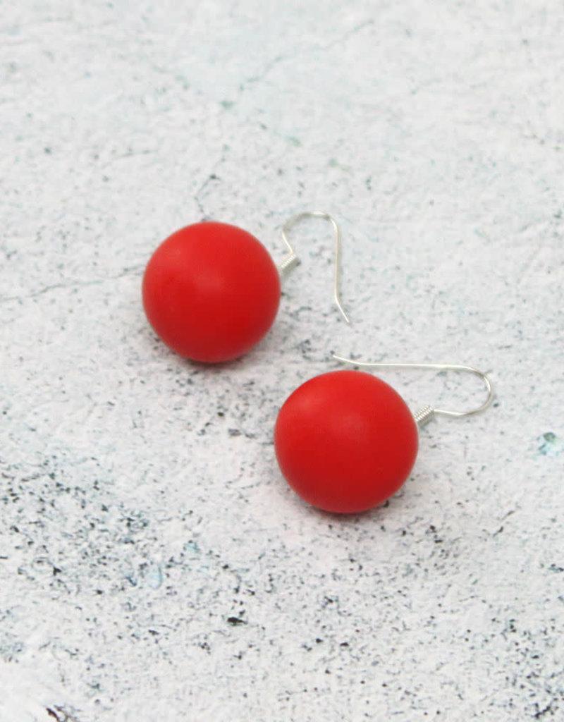 RED RESIN BALL EARRINGS