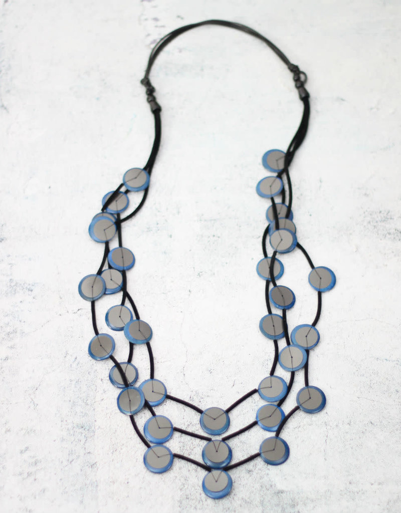 MULTI STRAND BLUE AND SILVER LINNETTE NECKLACE