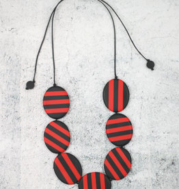 RED STRIPED STELLA NECKLACE