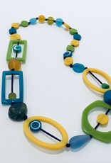 YELLOW GREEN AND BLUE DIWALI NECKLACE