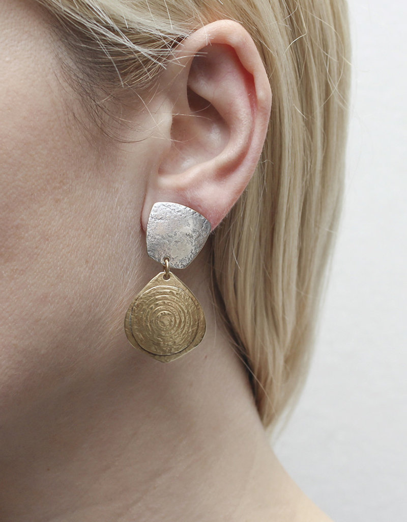 CLIP SILVER SQUARE GOLD TEXTURED TEARDROP EARRINGS