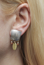 SILVER POST LEAF AND PEARL DANGLE