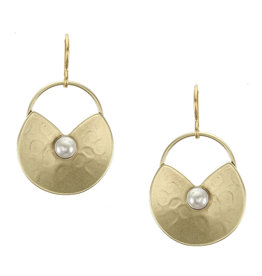 GOLD LILY PAD PEARL EARRING