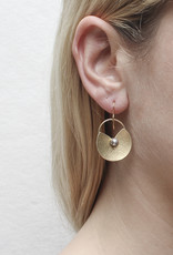 GOLD LILLYPAD PEARL EARRING
