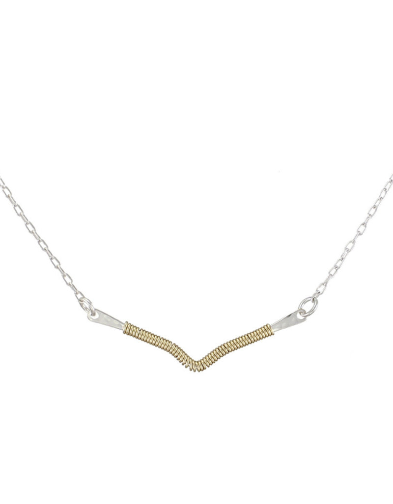 SILVER V BAR WRAPED IN GOLD NECKLACE