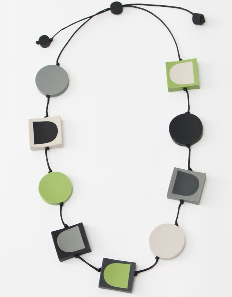 LIME AND GREY GEOMETRIC PETRA NECKLACE