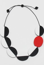 BLACK WHITE RED DOUBLE SIDED CHARM NECKLACE
