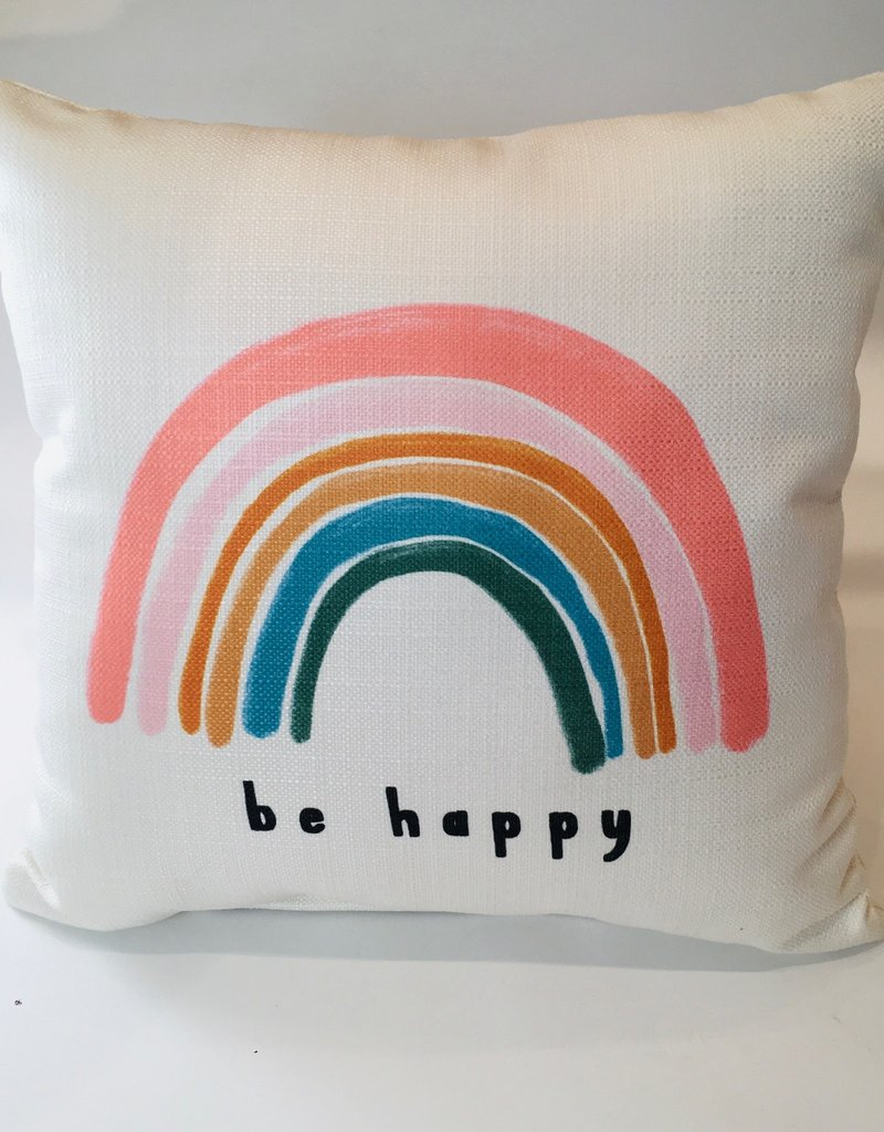 BE HAPPY RAINBOW PILLOW