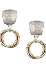 SILVER SQUARE DOUBLE GOLD  HOOP EARRINGS
