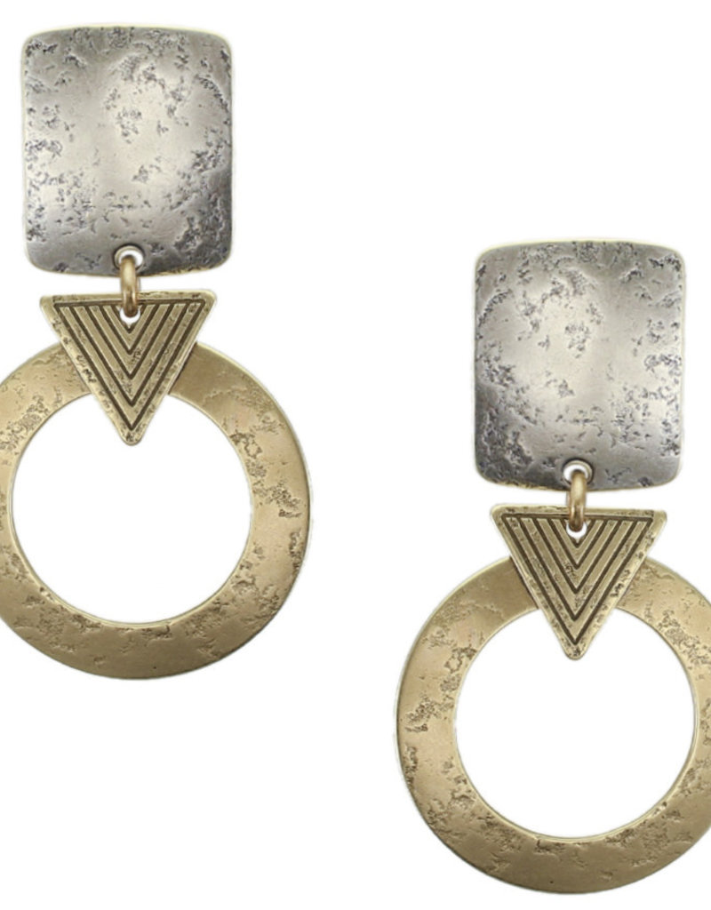 SILVER SQUARE GOLD HOOP CLIP EARRINGS