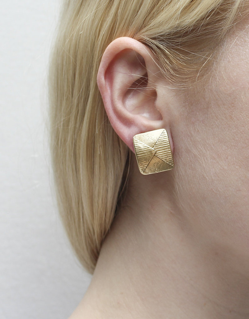 GOLD TEXTURED SQUARE CLIP EARRINGS