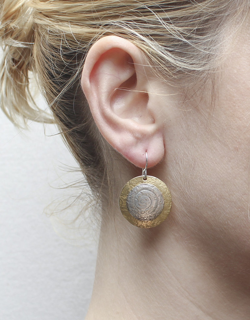 GOLD AND SILVER CIRCLE DROP EARRINGS