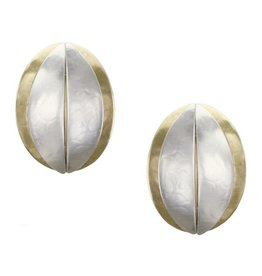 CLIP SILVER AND GOLD COFFEE BEAN EARRINGS