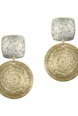 SILVER POST SQUARE GOLD CIRCLE EARRING