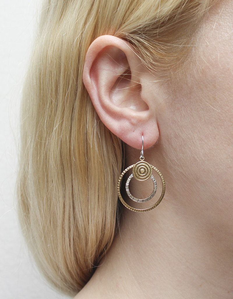 GOLD AND SILVER DOUBLE HOOP EARRINGS
