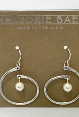 SILVER SPIRAL WHITE PEARL EARRING