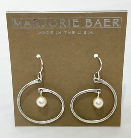 SILVER OPEN CIRCLE WHITE PEARL EARRING