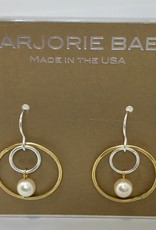 LARGE GOLD HOOP INNER SILVER HOOP AND PEARL EARRINGS