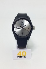 ROUND GREY DIAL, BLACK CASE, BLACK HANDS, BLACK MARKERS,BLACK STRAP 43MM