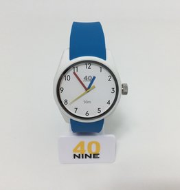 PRIMARY WHITE CASE,WHITE DIAL,BLACK NUMBERS RED AND BLUE HANDS BLUE STRAP