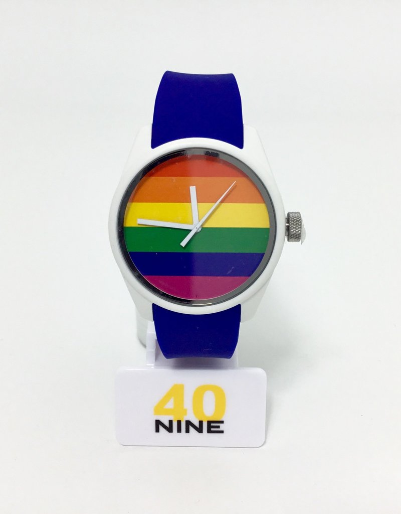 RAINBOW WATCH WHITE CASE,NAVY SILICONE STRAP